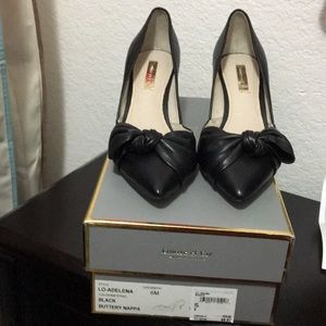 Louise et Cie black leather bow heels: Adelena